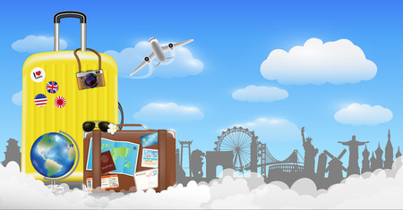 Time to travel with bag and world travel object Illustration