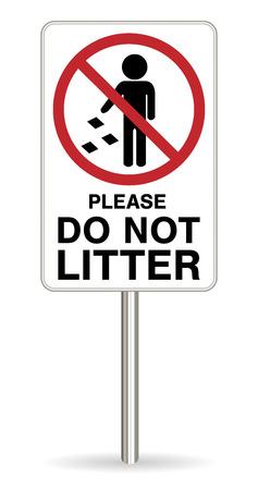 Do not litter warning sing on white background 矢量图像