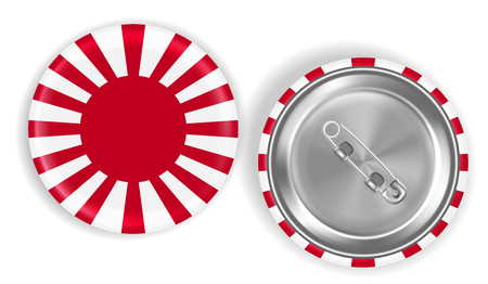 Rising sun flag of Japan steel pin brooch vector