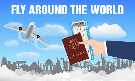 Airplane fly around the world and hand passport