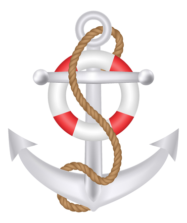 Anchor with rope and safety ring logo vector Illustration