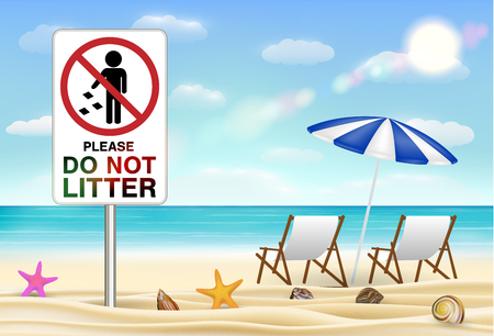 Please do not litter sign on sea sand beach Illustration
