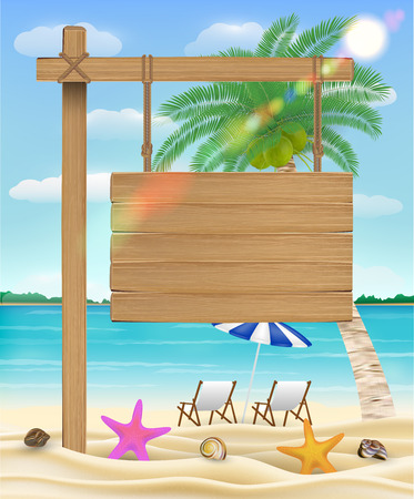 Hanging wood board sign on sea beach with relax chair