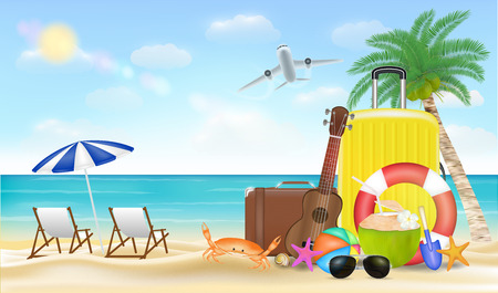 Summer vacation illustration with travel bag on sea sand beach