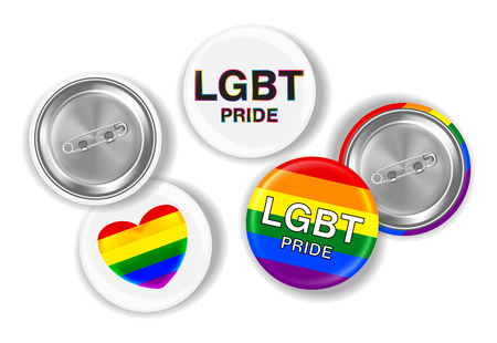 LGBT pride and flag on steel pin brooch Illustration