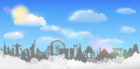 World landmark cloud sky background travel concept