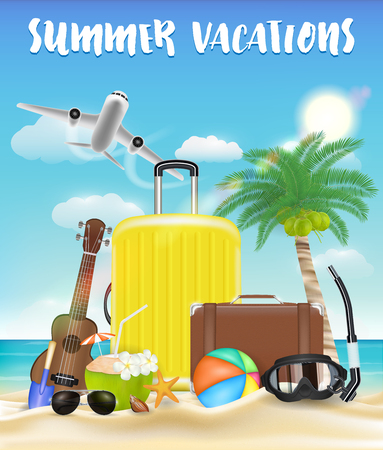 Summer vacations with luggage and beach travel object Illustration