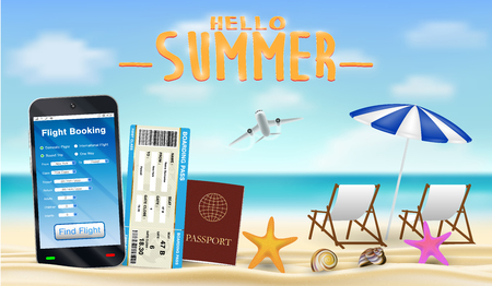 smartphone with online flight booking app on beach