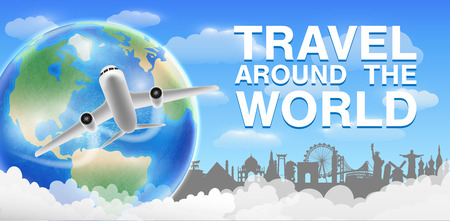 Airplane flying and travel around the world banner Illustration