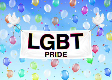 LGBT pride banner on colorful balloon and sky Illustration