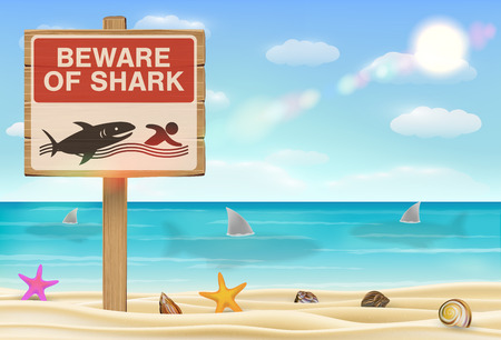 beware of shark sign on white background and in beach