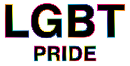 black LGBT Pride word with colorful stroke Illustration