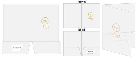 document folder package die-cut mockup template Illustration
