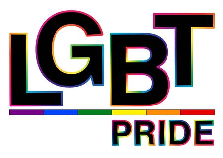 Black LGBT Pride word with colorful stroke.