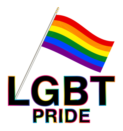 LGBT Pride flag and word with colorful stroke Illustration