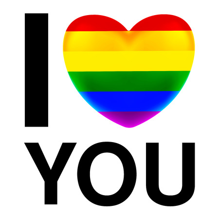 i love you with LGBT Flag heart