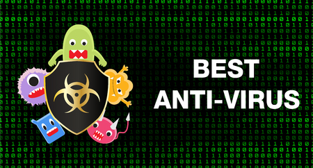 Best anti virus shield protect data from virus. Illustration