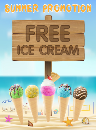 free ice cream wood board sign on sea sand beach