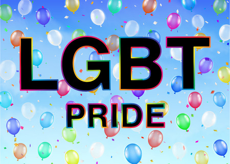 LGBT Pride on colorful balloon sky background Illustration