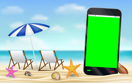 smartphone green screen on sea sand beach