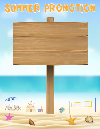 summer promotion wood board on sea sand beach Illustration
