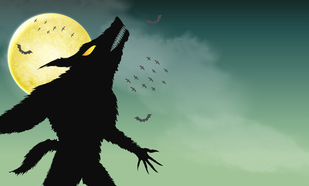 werewolf howling on green spooky night background
