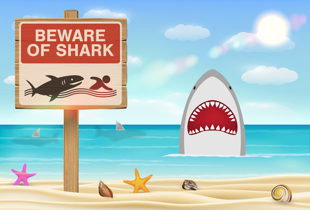 A beware of shark sign on sea sand beach Illustration