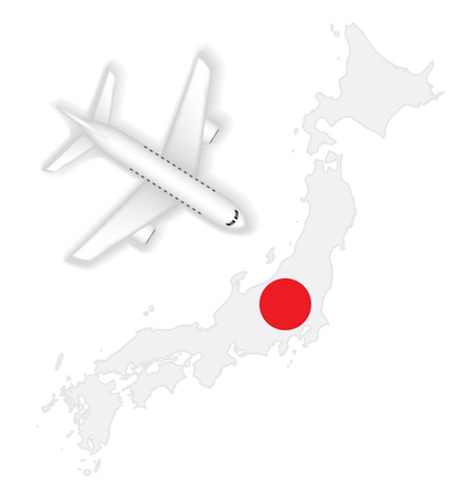 Airplane flight travel to japan flag map