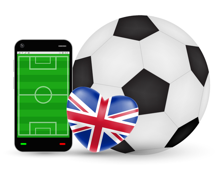 A smartphone with love England football soccer vector