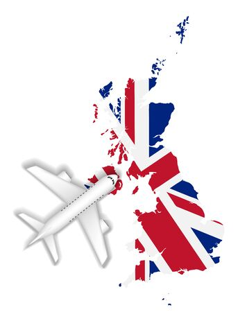 Airplane flight travel to England flag map