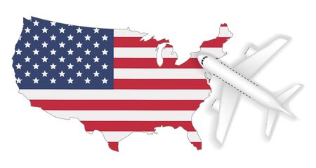 Airplane flight travel to America flag map