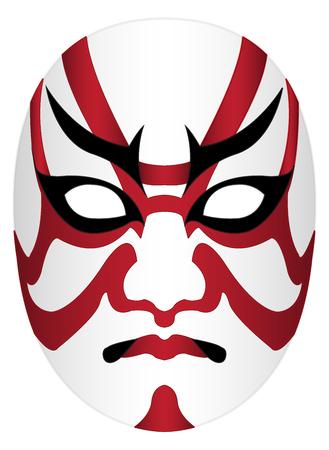 Japan kabuki mask on a white background