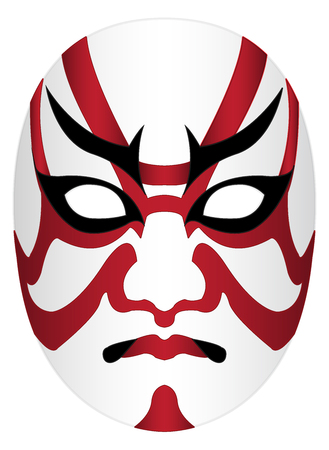 Japan kabuki mask on a white background
