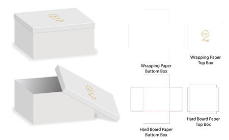 Box packaging die cut template design. 3d mock-up Vector illustration. Ilustração