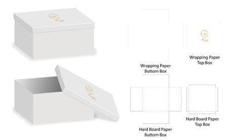 Box packaging die cut template design. 3d mock-up Vector illustration. Stock Illustratie