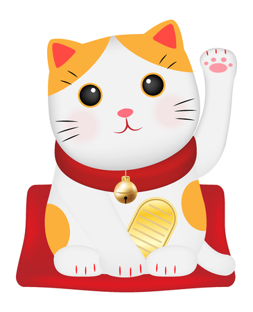Maneki Neko or Japan lucky cat vector Illustration