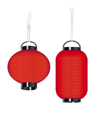 japan style lantern on a white background Illustration