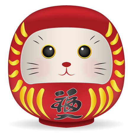 Japan Daruma doll with cat face vector