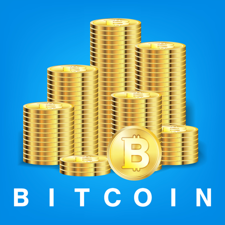 pile of golden bitcoin coins vector Illustration