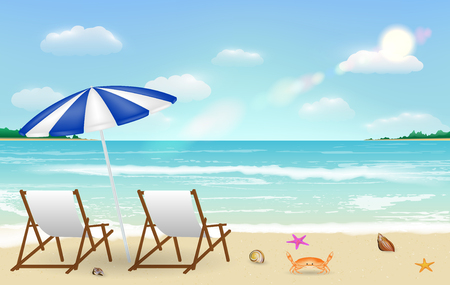Real relax chair on sea sand beach background