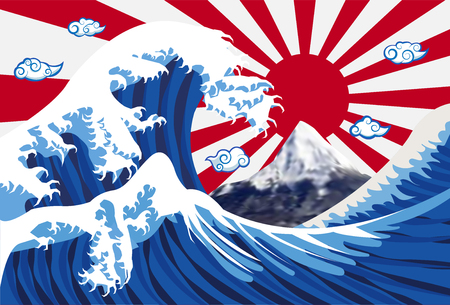 Sea wave with mount Fuji and japan flag