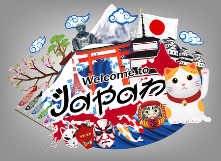 Welcome to japan logo with japan object