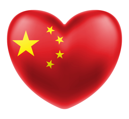 China flag on a love heart logo vector Illustration