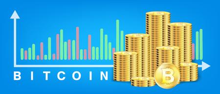 A pile of golden bitcoin coins icon. Stock Vector - 99228048