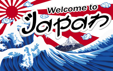 A banner of welcome to japan with wave and mt.fuji on sun flag.