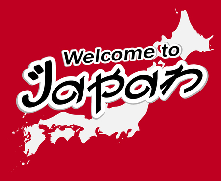 A lettering of WELCOME TO JAPAN with japan map.