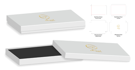 Box packaging die cut template design in 3D mock-up.