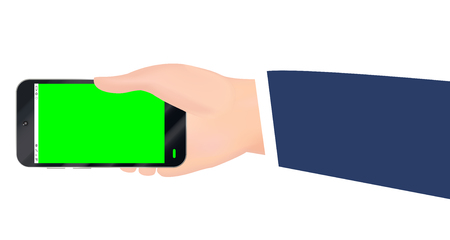 hand holding smartphone with green screen vector Illustration