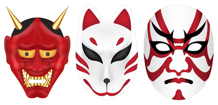 japan devil fox and labuki mask set Stock Vector - 99334980