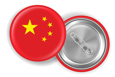china flag round steel pin brooch vector Illustration